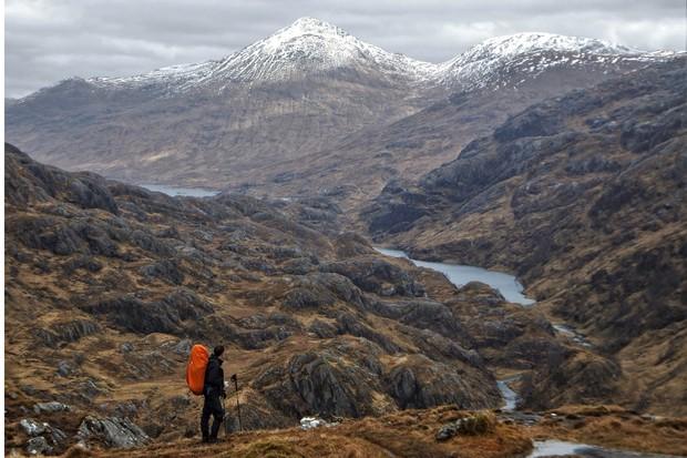 Hiker in the Scottish Highlands