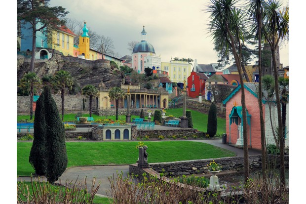 The famous colourful village of Portmeirion and its gardens in North Wales. (Getty)
