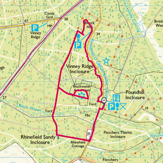 Rhinefield Forest map