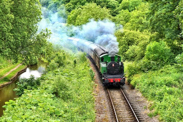 Steam train in the UK countryside