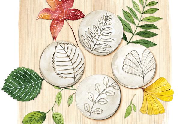 Make leaf-pressed coasters