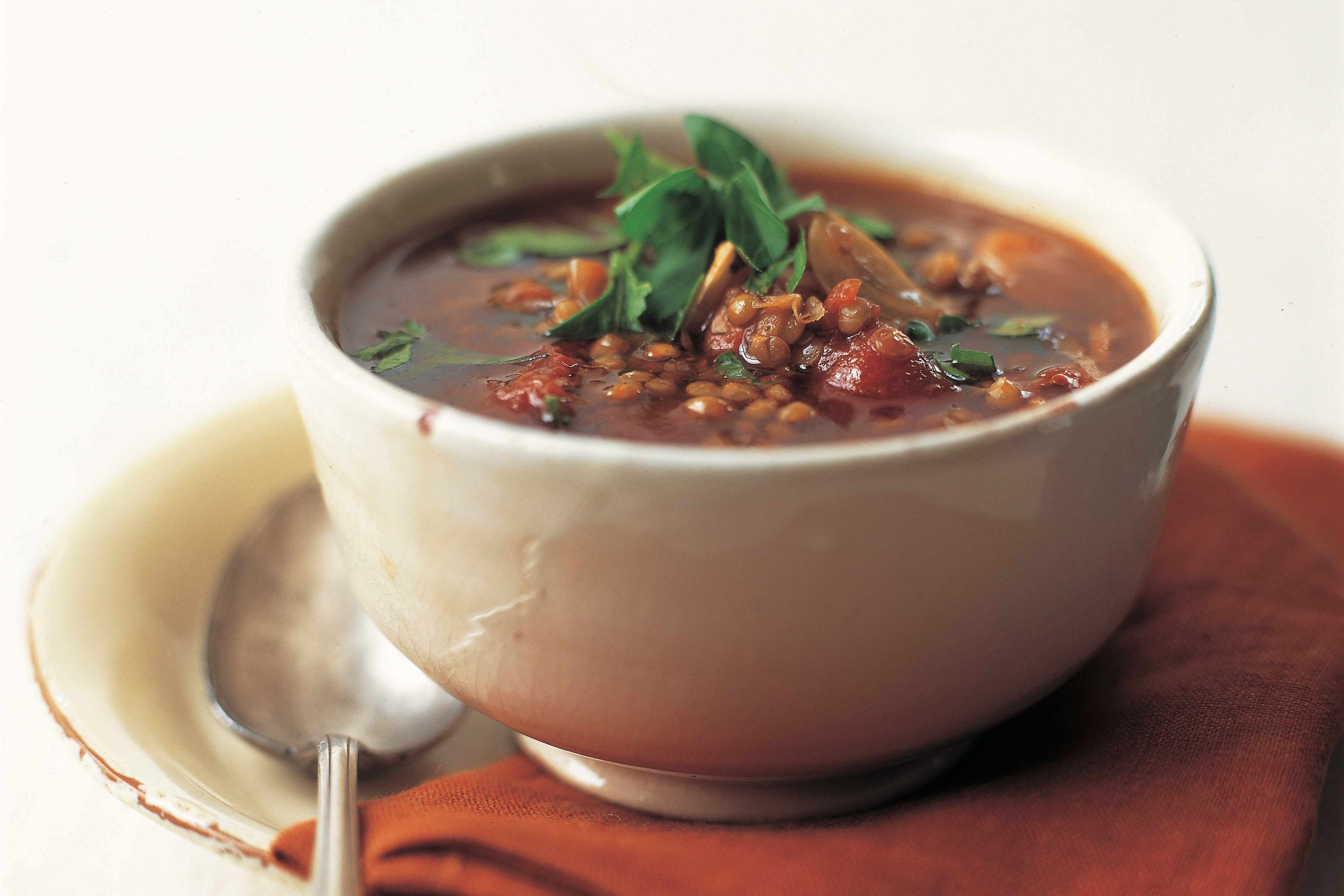Country lentil soup Vegan Cookbook by Tony and Yvonne Bishop-Weston