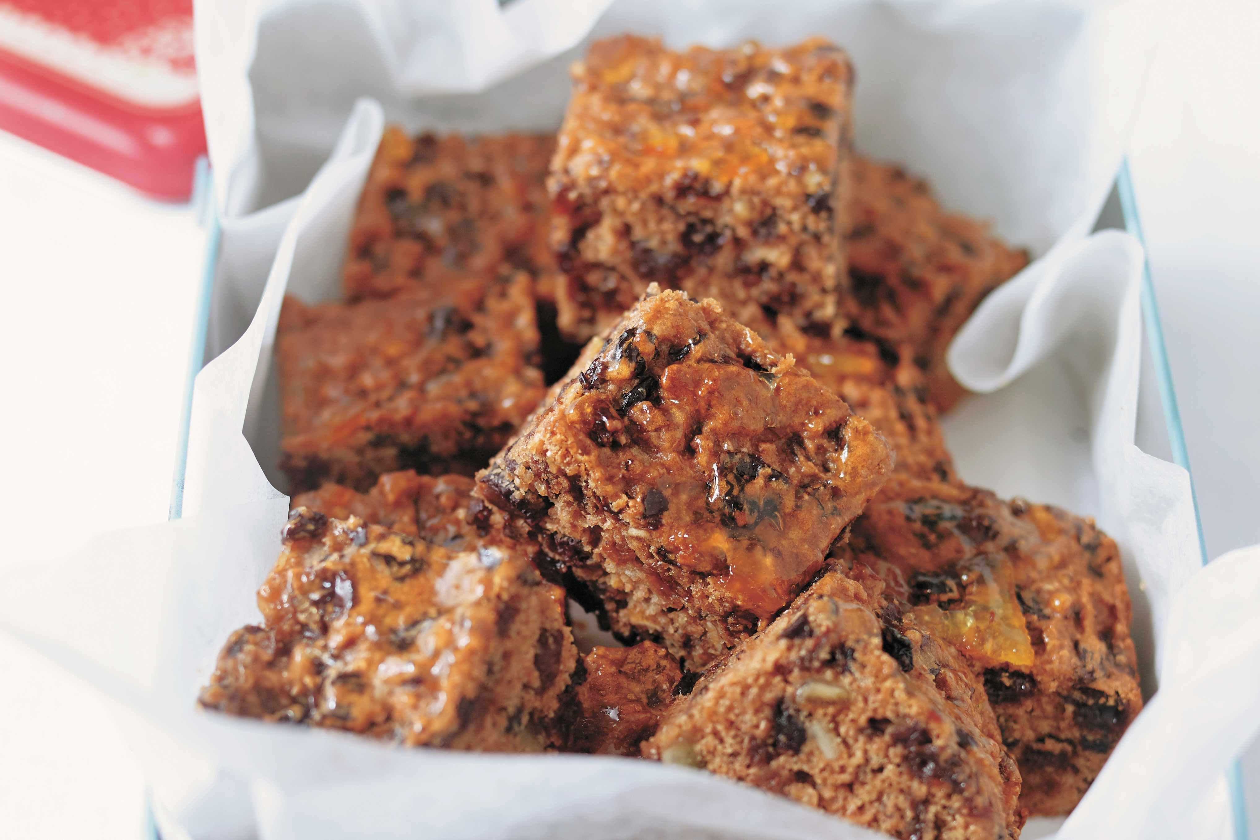 Green tea marmalde fruitcake squares, from Vegan Cookbook by Tony and Yvonne Bishop-Weston