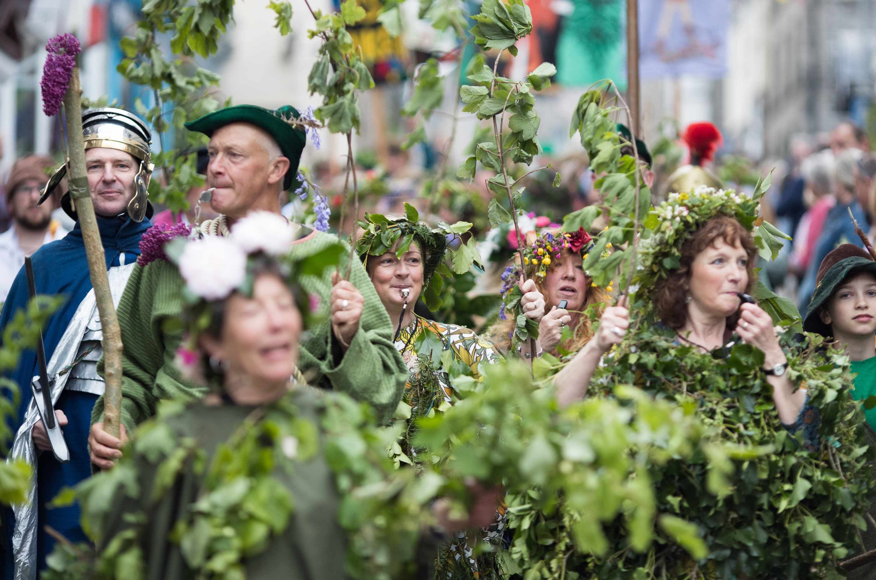 Performers take part in the Hal-an-Tow dance as they celebrate Helston Flora Day
