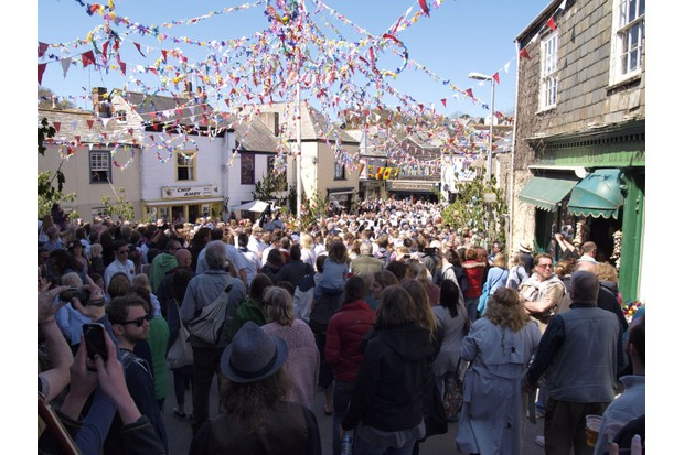 Crowds celebrating