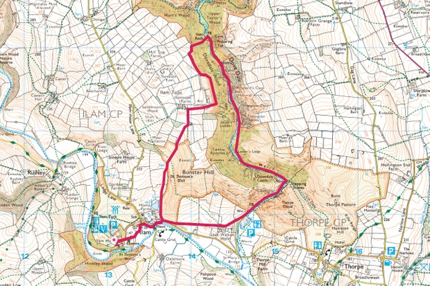 Ilam and Dove Dale map