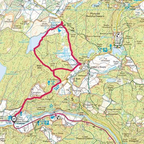 Tŷ Hyll tearooms to Llyn Bodgynydd map