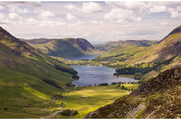 Looking down on Buttermere Valley, with Buttermere Lake and Crummock Water from Hay Stacks in the English Lake District.
