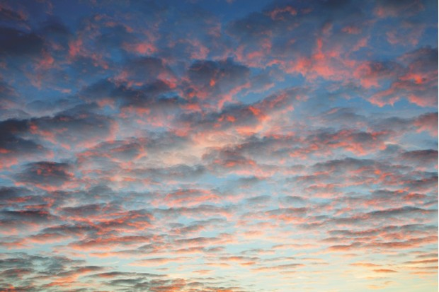 Mackerel Sky clouds over Carmarthen Bay, Carmarthenshire Wales