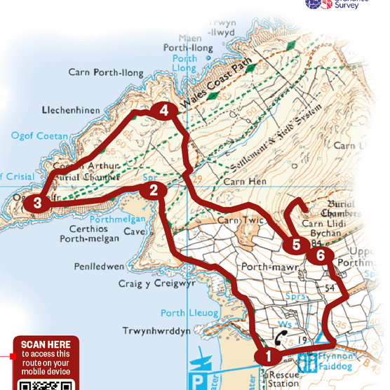 Map of the route for the Porthmelgan walk, Pembrokeshire