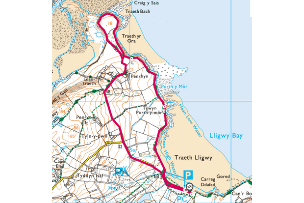 Map of the route for the walk in Traeth yr Ora, Anglesey