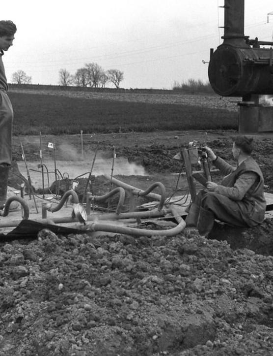 Sterilising the ground using steam Tulliallan Nursery, Kincardine, Fife, 1952