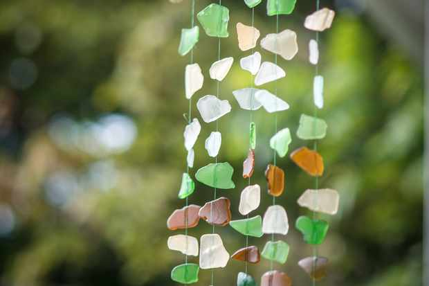 Green seaglass and driftwood mobile
