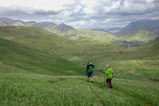 Hikers on Whiteoak Moss, Lake District
