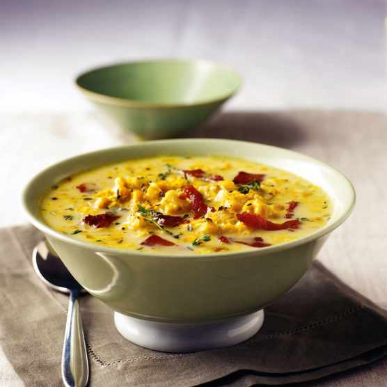 Sweetcorn and bacon chowder in a bowl