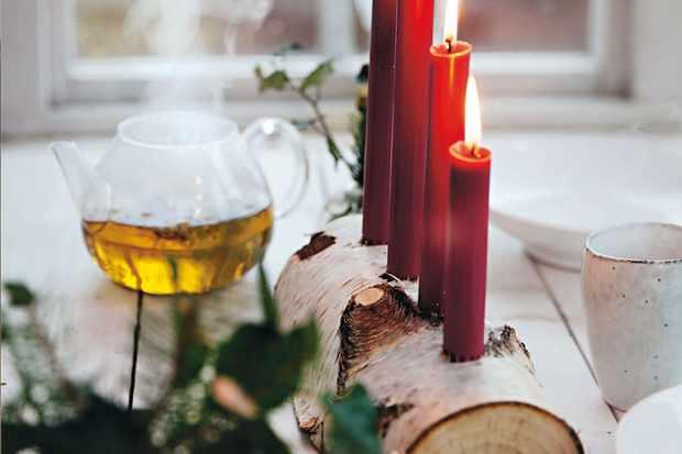 Birch Advent Candleholder