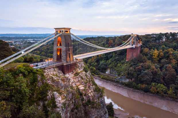 Clifton Suspension Bridge overlooks Leigh Woods and Avon Gorge