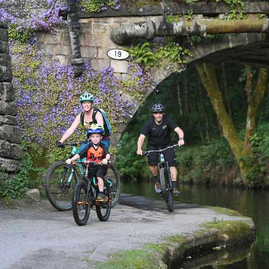 Families can enjoy off-road cycling safely away from traffic on much of the Great North Trail route, including easy-terrain canal paths. ©Cycling UK