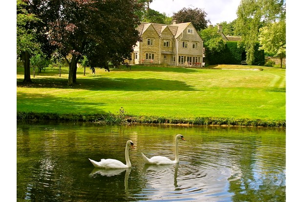 Country house with pond and swans