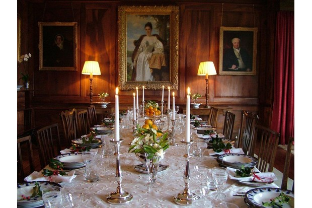 Elegant period dining room and laid table