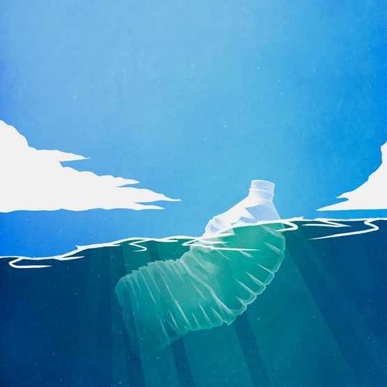 Plastic floating in the sea illustration