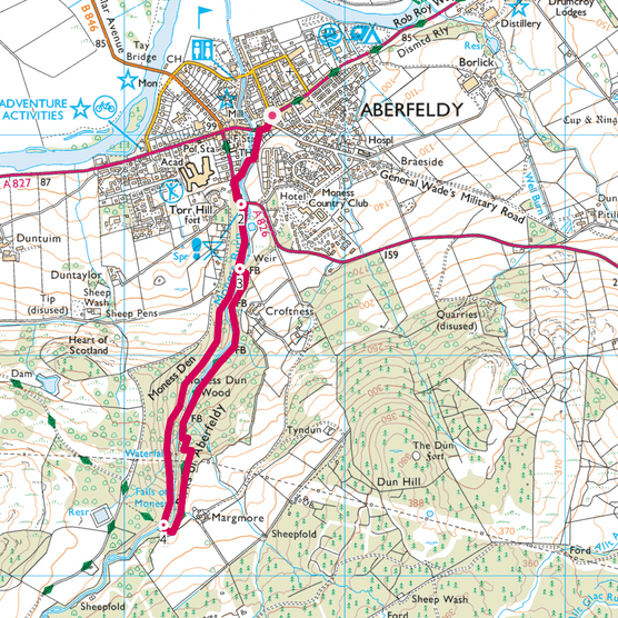 Birks of Aberfeldy map