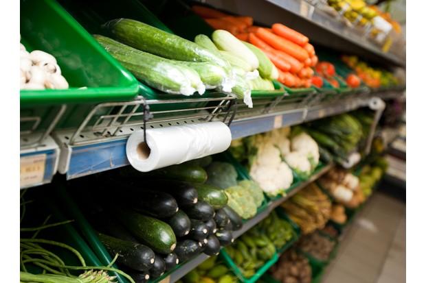 Vegetable display at supermarket