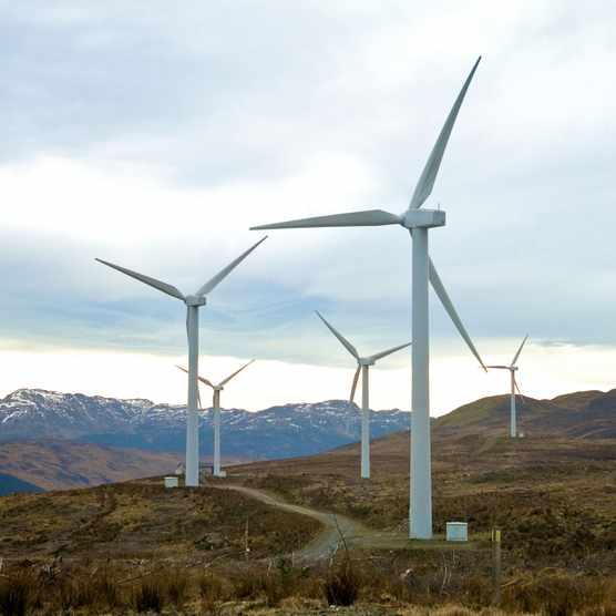 Wind turbines on hillside Getty Images