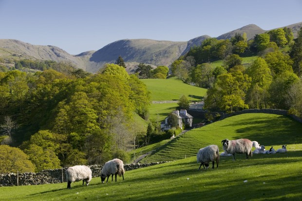 Spring in Troutbeck Valley with the Kentmere Fells beyond, in the scenic Lake District National Park