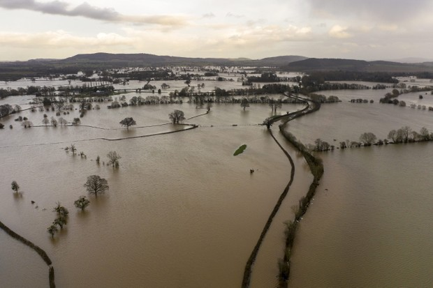 HEREFORD, ENGLAND - FEBRUARY 17: Floodwater covers fields in the Wye Valley, near the hamlet of Wellesley, following Storm Dennis on February 17, 2020 in Hereford, England. Storm Dennis is the second named storm to bring extreme weather in a week and follows in the aftermath of Storm Ciara. (Photo by Christopher Furlong/Getty Images)