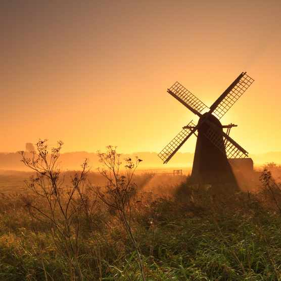 Smock mill at sunrise in Herringfleet, Suffolk