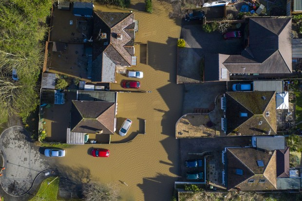 HEREFORD, ENGLAND - FEBRUARY 17: An aerial view showing flooding from the River Wye following Storm Dennis on February 17, 2020 in Hereford, England. Storm Dennis is the second named storm to bring extreme weather in a week and follows in the aftermath of Storm Ciara. (Photo by Christopher Furlong/Getty Images)