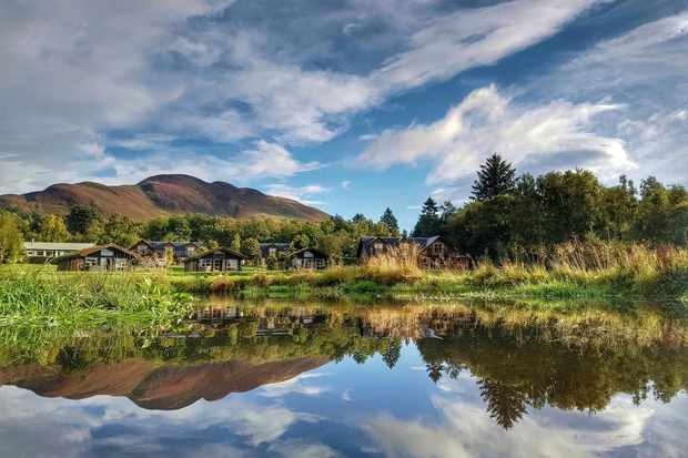 View of lodges and Conic Hill - Suzanne Cottam