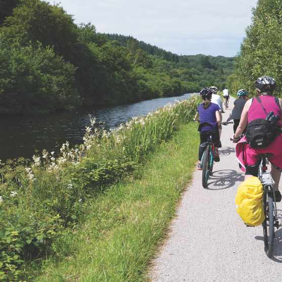 Cycling along the Crinan canal, Argyll and Bute