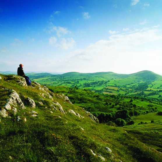 View from Bryn Alyn, over the Alyn Valley to the Clwydian Range, North Wales, UK