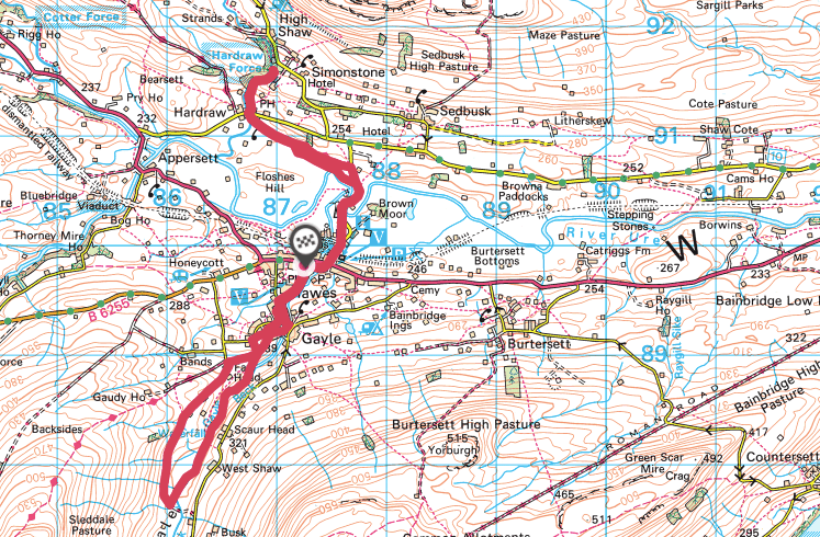 Aysgill Force and Hardraw Force walking route and map