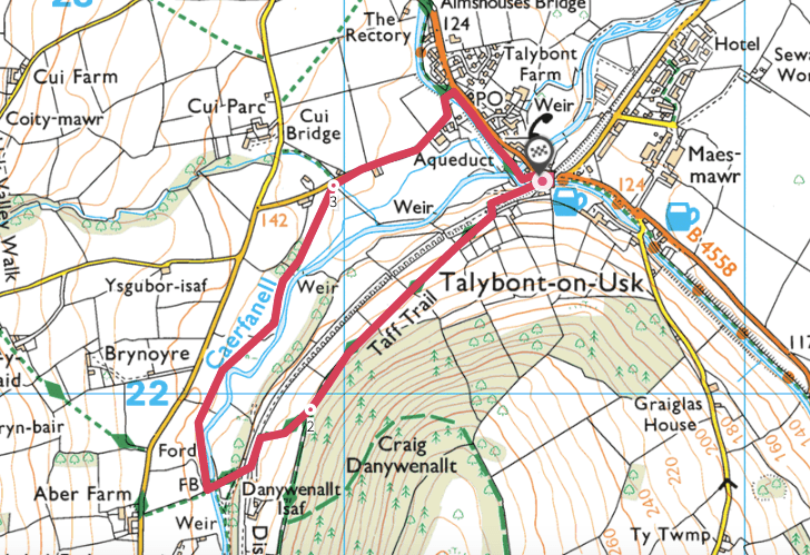 Caerfanell River walking route and map