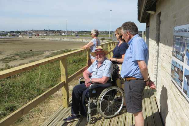 In 2017, the Chesil Beach Centre added a wheelchair friendly viewing platform, which overlooks the Fleet Lagoon © Dorset Wildlife Trust