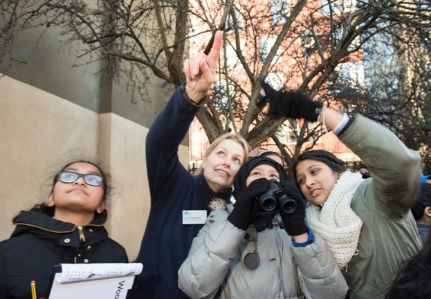 RSPB Schools Outreach sponsored by ALDI.  Julie Foreman, RSPB Schools Outreach Officer, running Big Schools Birdwatch sessions, Lawdale Junior School, London, January 2016
