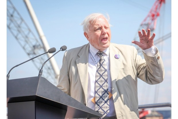 Attenborough speaking at the launch of RRS Sir David Attenborough. © Cammell Laird