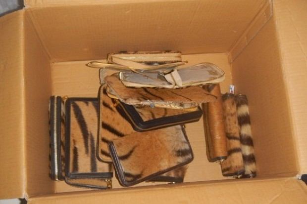 The confiscated tiger skin wallets and other products © WCS Indonesia