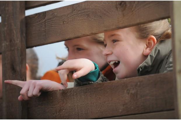 School children at the opening of RSPB Newport Wetlands Centre, Newport, Wales