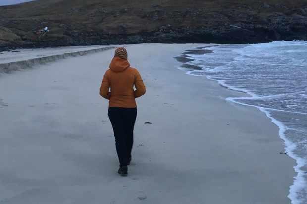 Walking on the beach in Shetland. © Karen MacKelvie