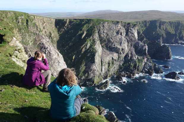 Watching the gannet colony at Hermaness National Nature Reserve, Unst, Shetland. © Ian Francis