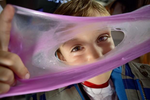 Science Festival pink goo. © Swansea University