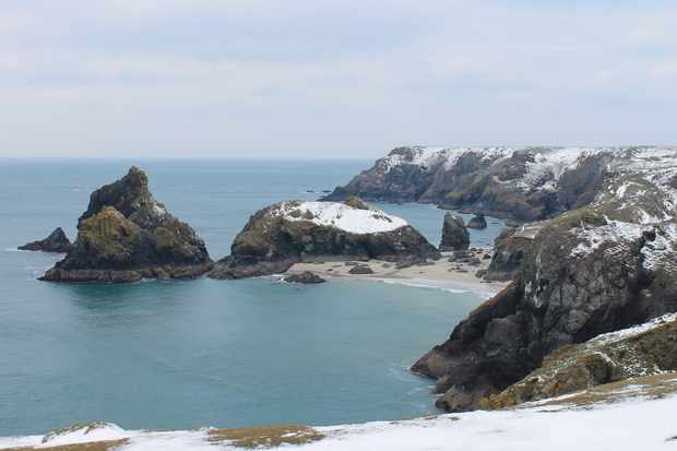Snow at Kynance Cove in Cornwall. © Layla Astley/National Trust