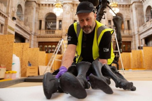 Dippy being reassembled in Glasgow. © SNS