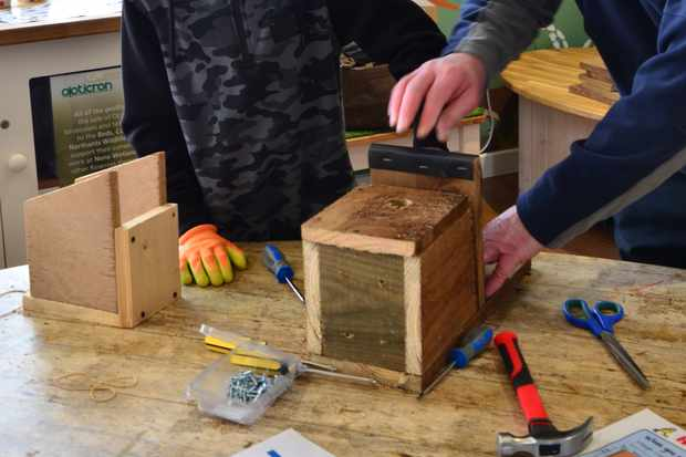 Nestbox building at the Nene Wetlands. © Katie King/Wildlife Trust BCN