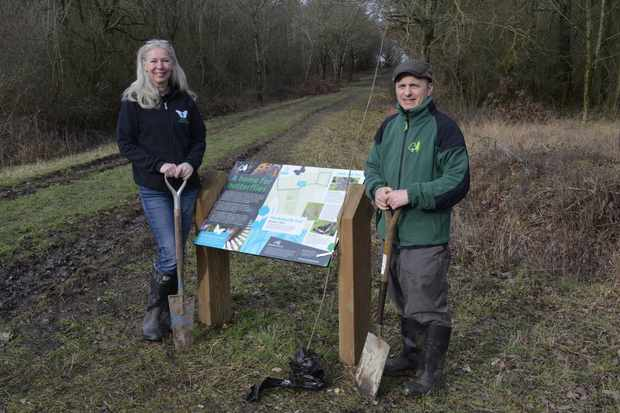 Jayne Chapman from Butterfly Conservation and Michael Ullman from the Forestry Commission on the Butterfly Trail.