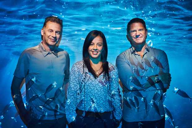 Chris Packham Liz Bonnin and Steve Backshall will be presenting Blue Planet Live. © Joe Giacomet/BBC